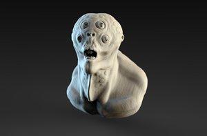 3D monster bust eyes