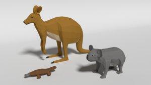 3D australian animals koala kangaroo