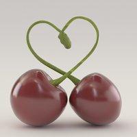 cherries forming heart 3D model