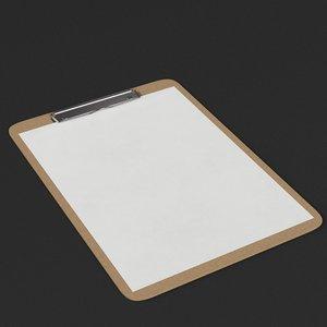 clipboard paper ready 3D