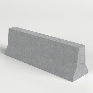 concrete road barrier 3D