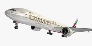 3D boeing 777-9 aircraft emirates
