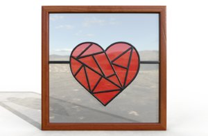 stained glass heart shaped model