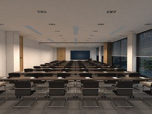 3D meeting room city view