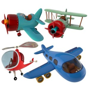 cartoon stylized aircrafts 3D model