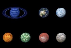 alien planets moon sci-fi model