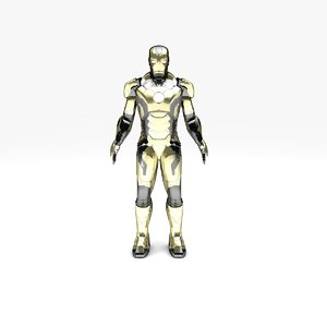 iron man silver gold 3D model