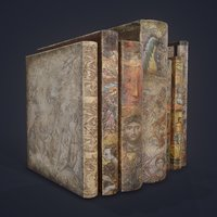 medieval books row 3 3D