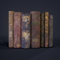 3D model medieval books row 2