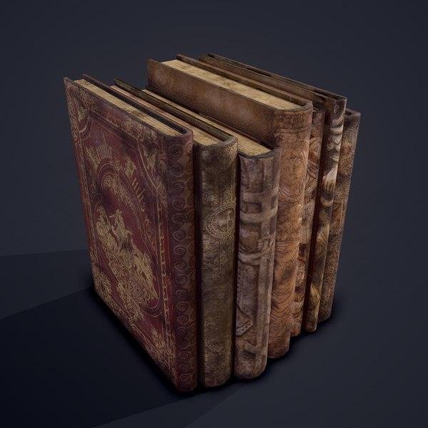 medieval books row 1 3D