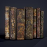 3D medieval books row 2