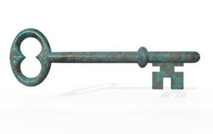 3D model antique key
