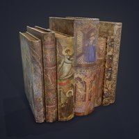 3D medieval books row 3