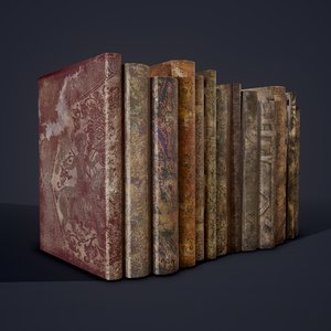medieval books row 1 3D model