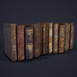 medieval books row 2 3D model