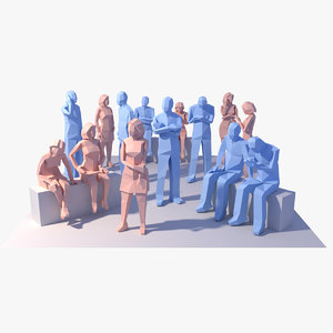 3d model style people architectural animation