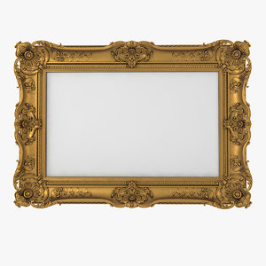 3D model realistic baroque picture frame