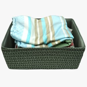 3D wicker basket kitchen towels model