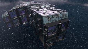 3D starship rendered scene - model
