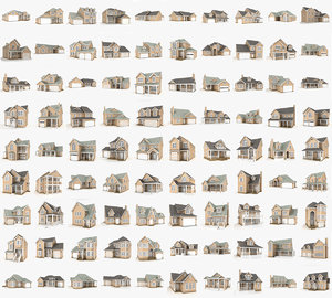 3D 90 hi-poly cottages pack