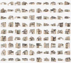 3D 90 hi-poly cottages pack