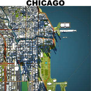 chicago downtown city 3D model