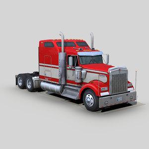 w900 semi truck 3D model
