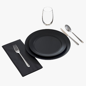 3D model casual table setting