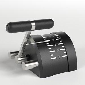 3D engine control lever model