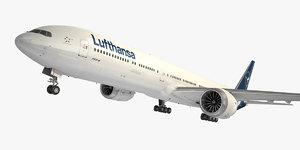 3D boeing 777-9 aircraft lufthansa model