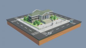cartoon museum landmark 3D model