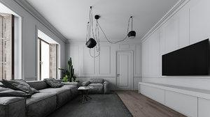 midcentury interior rendered 3D model