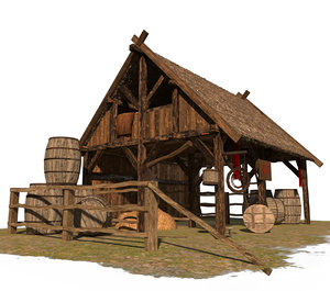 3D medieval viking stable