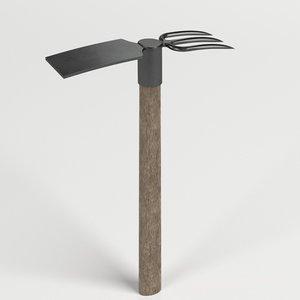 3D fork mattock axe