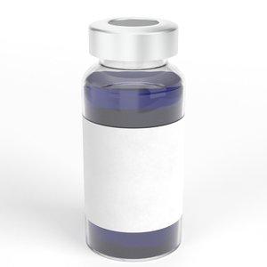 3D glass ampoule aluminium cap model