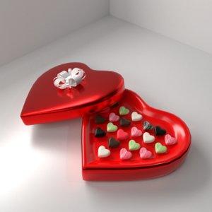 heart shape chocolate box 3D model