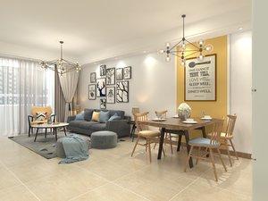 living room dining set 3D model