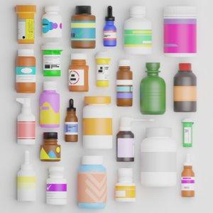 3D medicine bottles games model