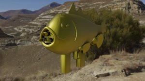 fish rocket launcher 3D model