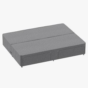 3D bed base 03 grey model