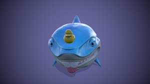 shark toon print color 3D model