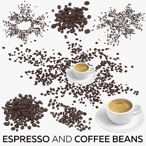 3D espresso coffee beans model