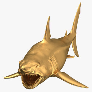 great white shark open mouth 3D