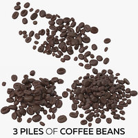 3D model 3 piles coffee beans