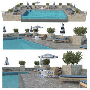 3D infinity swimming pool outdoor furniture model