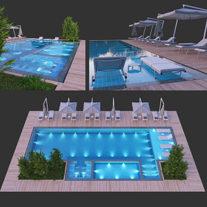sunbed swimming pool 3D model