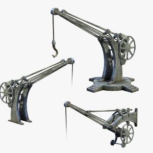 set low-poly cranes 3D model
