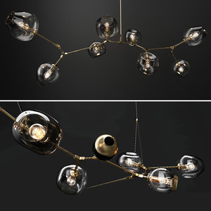 glass branching bubble lamps 3D model