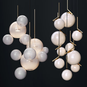 3D glass chandelier bolle ic