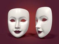 neutral woman mask 3D